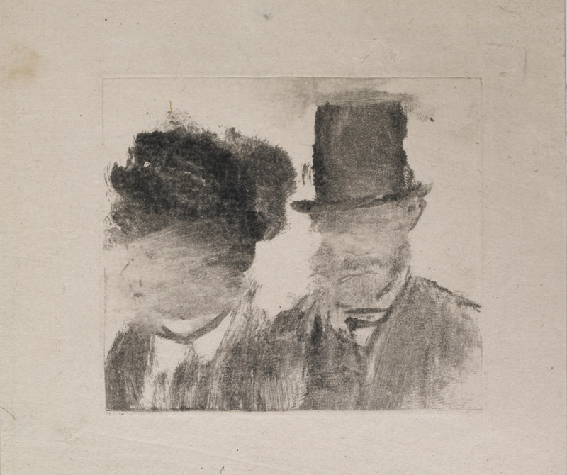 Heads of a Man and a Woman, Edgar Degas, c. 1877-1880, Monotype, 7.2 x 8.1 cm © Trustees of the British Museum