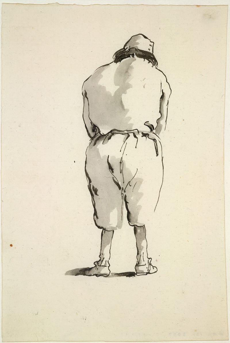 Giovanni Battista Tiepolo, Caricature of a man seen from behind, c. 1760, Pen and black with grey wash, 20.5 x 13.7 cm © Trustees of the British Museum
