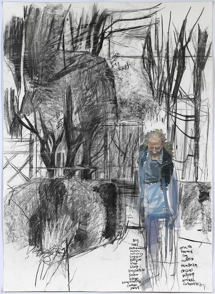 Eileen Hogan, Ian Hamilton Finlay walking towards the Roman Garden, 2009, charcoal and oil paint on paper, 136x99cm © Eileen Hogan