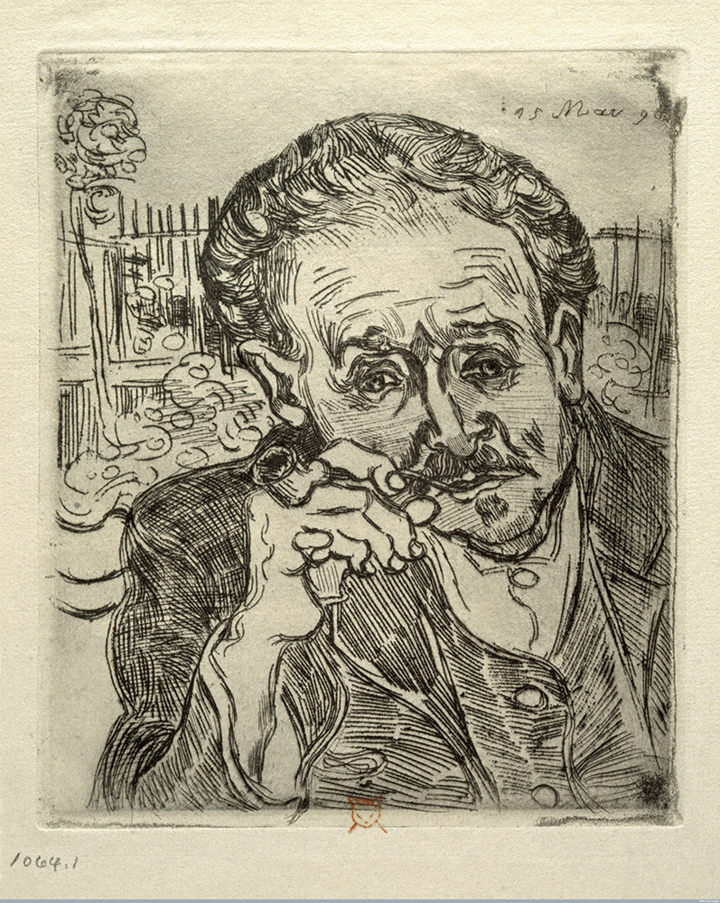 Vincent van Gogh, Portrait of Dr Gachet, 1890, etching, image courtesy of: Wellcome Library, London